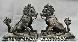 13and039and039 Old China Purple Bronze Town House Kylin Kirin Chi-lin Kilin Statue Pair
