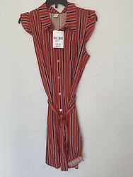 Forever 21 Girls Striped Sleeveless Shirt Dress Kids Size 13 14