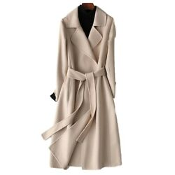 Womenand039s 100 Wool Coat Double-side Cashmere Trench Outwear Formal Slim Jackets L