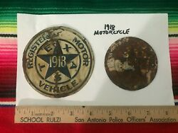 1918 Texas Passenger License Plate Radiator Seal And Motorcycle Seal