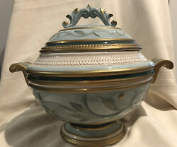Fitz And Floyd Clairmont Soup Tureen With Ladle Hand Painted - Earthenware