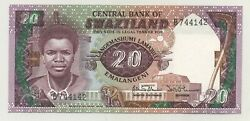 Swaziland 20 Emalangeni Nd 1986 Pick 12.a Unc Uncirculated Banknote