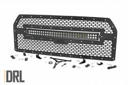 Rough Country Ford Mesh Grille|30in Dual Row Blk Ser Led W/amber Drl 15-17 F-150