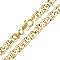 10k Yellow Gold Concave Mariner Chain Necklace 30 7.8mm 72 Grams