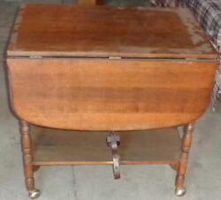 Vintage Drop Leaf Dual Level Table – With Casters – Needs Tlc Handy Useful Table