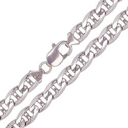 10k White Gold Concave Mariner Chain Necklace 30 7.8mm 72 Grams