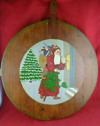 Early Primitive Large Round Bread Dough Board With Slats Handle Germany Xmas