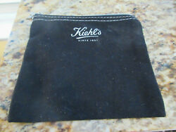 KIEHL#x27;s Small Cosmetic Black Canvas Cosmetic Bag w Charm and Zipper $9.99