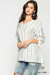 Sml Bluheaven By Umgee Navy Striped Tie Detail Swing Tunic/blouse/shirt/top Bhcs
