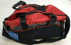 New Port And Company Medium Color Duffel Bag, Gym Bag, Red And Black N10-6