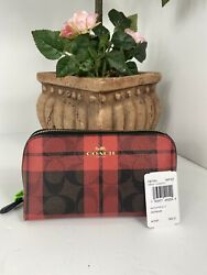 New Coach Cosmetic Bag Signature Canvas Field Print True Red Plaid F87791 M6 $89.99