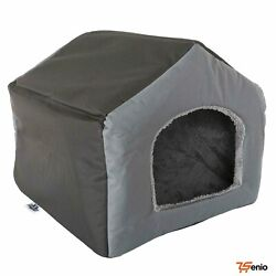 Fabric Dog Houses Or Cat With Removeable Plush Mat Pet Bed Small Gray - Rsenio
