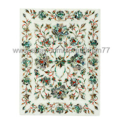 Marble Inlay Serving Tray Rectangular Floral Design Home Decorative
