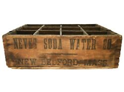 Early 20th C Antique Neves Soda Water Divided Wood Box Advt Crate New Bedford Ma