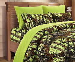 7 Pc Lime Woods Camo Full Size Comforter And Sheets/pillowcases Set Neon Yellow