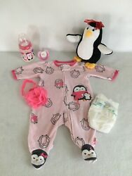 Reborn Baby Doll Penquin Outfit W/ Bottle, Pacifier And Accs