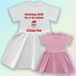 Personalised Christmas Year Of Lockdown Embroidered Baby Cotton Dress Gift 1st