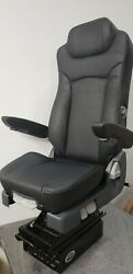 Prime Touring Comfort Tc200l Genuine Black Leather Air Ride Seat With Arm Rest