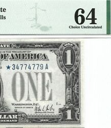 1928b 1 Star ⭐️ Silver Certificate, Pmg Choice Uncirculated 64 Banknote
