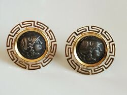 14kt Gold And Ancient Roman Coin Earrings Greek Key Design