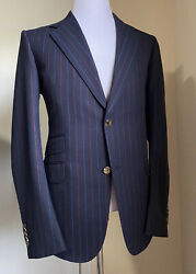 New 3800 Mens Suit Striped Navy/blue 42r Us 52r Eu Italy