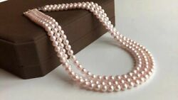 3 Rows 6-6.5mm Quality Japan Akoya Saltwater Pearl Necklace 120cm Japan Order