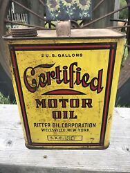 Rare Certified Motor Oil Can 2 Gallon Ritter Oil Yellow Wellsville Ny