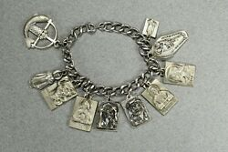 Heavy Vintage Sterling Silver Religious 10 Charm Bracelet Creed 66g -- 1916