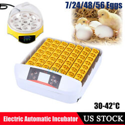 Digital Clear 7 56 Eggs Incubator Hatcher Automatic Turning Chicken Temperature