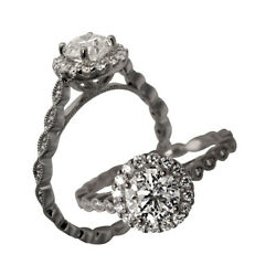 Real Diamond Ring Round Cut 0.85 Ct Solitaire Engagement 14k White Gold