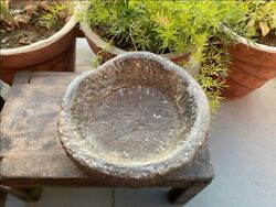 1750's Antique Old Hand Caved Indian Stone Mortar Bowl Garden Decorative Bowl