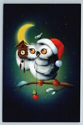 Wise Owl And Cuckoo-clock Moon Fantasy Humor Russian Unposted Modern Postcard