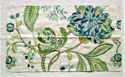 K22k Manuel Canovas Dana Woven/embroidered Floral Fabric Remnant Turquoise