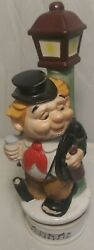 """Vintage 1950s Hobo on Pole 13"""" Ceramic Music Box Bar Decanter Plays How Dry I Am $59.99"""