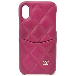 Authentic Matelasse Leather Iphone X Xs Cover Mobile Phone Case Pink Cc