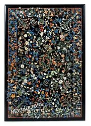 Black Marble Coffee Table Top Pietra Dura Art Hallway Table With Inlay Work