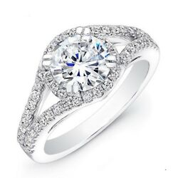 Round Cut 1.24 Ct Real Diamond Engagement Ring 14k White Solid Gold Size 6