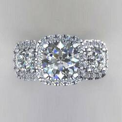 1.50 Ct Round Cut Real Diamond Engagement Ring 14k Solid White Gold Size 5 6 7 8
