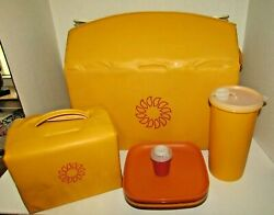Vintage 1982 Tupperware Picnic Set With Padded Cooler,lunchbox,plates Etc