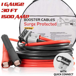 Booster Jumper Cables Heavy Duty 1 Gauge 1500 Amp 30 Ft With Quick Connect Plugs