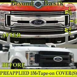 2017 2018 2019 Ford F250 Xlt And Xl Chrome Grille Grill Cover Overlay Insert 5pcs