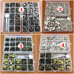 10kinds 200sets Poppers Snap Fasteners Press Studs Button Leather Craft Tool New