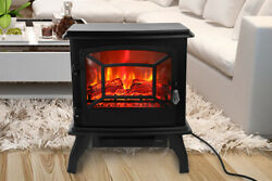 1400w Electric Fireplace Free Standing Heater Wood Fire Flame Stove Adjust