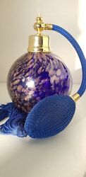 Blue And Rose Gold Vintage Glass Perfume Atomizer / Bottle