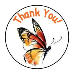 CUTE THANK YOU BUTTERFLY BEAUTIFUL STICKER LABEL ENVELOPE SEAL 1.2quot; amp; 1.5quot; ROUND