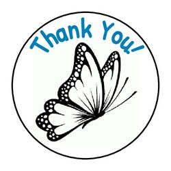 THANK YOU BUTTERFLY BEAUTIFUL STICKER LABEL ENVELOPE SEAL 1.2quot; OR 1.5quot; ROUND