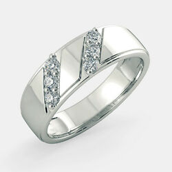 Real 0.42 Ct Diamond Party Ring 14k White Gold Mens Band 11 10