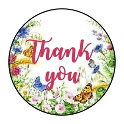 THANK YOU BUTTERFLY FLOWER STICKER LABEL ENVELOPE SEAL PARTY 1.2quot; OR 1.5quot; ROUND
