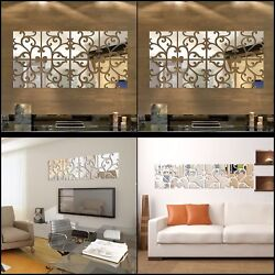 32pcs 3d Mirror Wall Stickers Silver Home Decoration Acrylic Diy Poster Decor