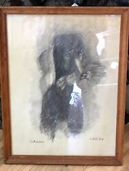 1959s Auth Antique Charcoal Hand Sketching Black Poodle